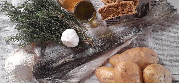 Μπακαλιάρος τηγανιτός με σκορδαλιά τσι Κρήτης